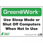 """Zing Green Products 1008, Green at Work Sign """"Use Sleep Mode Or …"""""""