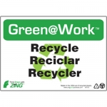 """Zing Green Products 1012, Green at Work Sign """"Recycle/Reciclar/Rec…"""""""