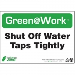 """Zing Green Products 1034, Green at Work Sign """"Shut Off Water Taps …"""""""