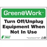 """Zing Green Products 1038, Green at Work Sign """"Turn Off, Unplug …"""""""