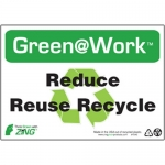 """Zing Green Products 1040, Green at Work Sign """"Reduce Reuse Recycle"""""""