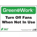 """Zing Green Products 1045, Green at Work Sign """"Turn Off Fans When …"""""""