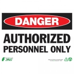 """Zing Green Products 2090, Eco """"Danger Authorized Personnel"""" Sign"""