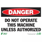"""Zing Green Products 2095, Eco """"Danger Do Not Operate"""" Safety Sign"""