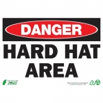 """Zing Green Products 1102, Eco """"Danger Hard Hat Area"""" Safety Sign"""