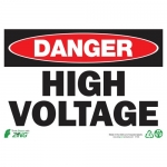 """Zing Green Products 1103A, Eco """"Danger High Voltage"""" Safety Sign"""