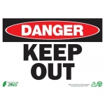 """Zing Green Products 1106A, Eco """"Danger Keep Out"""" Aluminum Safety Sign"""