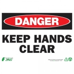 """Zing Green Products 2119, Eco """"Danger Keep Hands Clear"""" Safety Sign"""