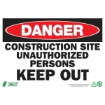"""Zing Green Products 1121, Eco """"Danger Construction Site Keep Out"""" Sign"""