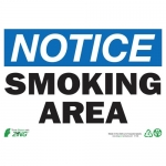 """Zing Green Products 1135, Eco """"Notice Smoking Area"""" Safety Sign"""
