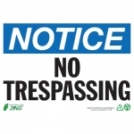 """Zing Green Products 2139, Eco """"Notice No Trespassing"""" Safety Sign"""