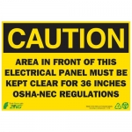 """Zing Green Products 1145A, Eco """"Caution Electrical Panel"""" Safety Sign"""