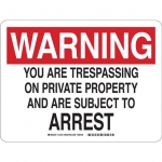 Brady 12218, Are Trespassing On Private Property… Sign