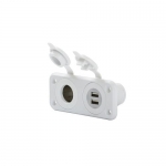 Marinco 12VCOMBOW-B, SeaLink Deluxe Dual USB Charger & 12V Receptacle