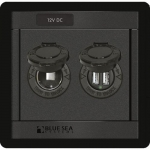 Blue Sea Systems 1478-BSS, 360 Panel – DC Socket and Dual USB Charger