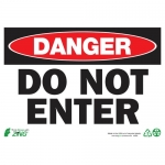 """Zing Green Products 2093, Safety Sign """"Danger Do Not Enter"""""""