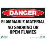 """Zing Green Products 2100, Safety Sign """"Danger Flammable Material"""""""