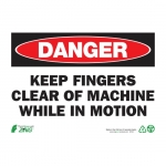 """Zing Green Products 2105, Eco """"Danger Keep Fingers Clear"""" Safety Sign"""