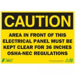 """Zing Green Products 2145A, Eco """"Caution Electrical Panel"""" Safety Sign"""
