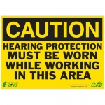 """Zing Green Products 2151, Eco Safety Sign """"Caution Hearing Protect…"""""""