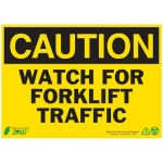 """Zing Green Products 2155A, Sign """"Caution Watch For Forklift Traffic"""""""