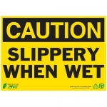 """Zing Green Products 2158, Eco """"Caution Slippery When Wet"""" Safety Sign"""