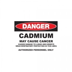 """Zing Green Products 2660, Eco GHS """"Danger Cadmium"""" Plastic Sign"""
