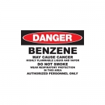 """Zing Green Products 2661A, Eco GHS """"Danger Benzene"""" Aluminum Sign"""