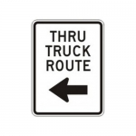 """Accuform FRR232HP, Facility Traffic Sign """"Thru Truck Route Left"""""""
