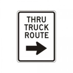 """Accuform FRR233HP, Facility Traffic Sign """"Thru Truck Route Right"""""""