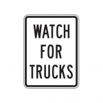 """Accuform FRR240HP, Facility Traffic Sign """"Watch For Trucks"""""""