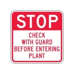 """Accuform FRR247HP, Facility Traffic Sign """"Check with Guard …"""""""