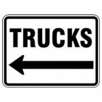 "Accuform FRR281HP, Facility Traffic Sign ""Trucks"" Left Arrow"