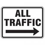 "Accuform FRR286HP, Facility Traffic Sign ""All Traffic"" Right Arrow"