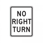 """Accuform FRR298HP, Traffic Sign """"No Right Turn"""" High Intensity"""