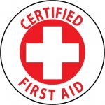 """NMC HH35, Hard Hat Emblem """"Certified First Aid"""""""