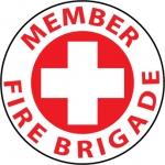 """NMC HH38, Hard Hat Emblem """"Member Fire Brigade"""""""