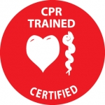 """NMC HH70, Hard Hat Emblem """"CPR Trained Certified"""""""