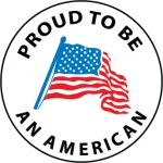 """NMC HH76, Hard Hat Label """"Proud To Be An American"""""""