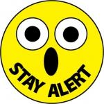 "NMC HH82, Hard Hat Emblem ""Stay Alert"""