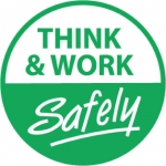 "NMC HH91, Hard Hat Emblem ""Think & Work Safely"""