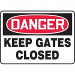 """Accuform MABR004XL, Danger Safety Sign """"Keep Gates Closed"""" Aluma-Lite"""