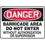 "Accuform MABR110XV, Danger Safety Sign ""Barricade Area…"" Dura-Vinyl"