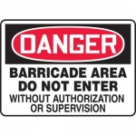 """Accuform MABR110XV10, Danger Safety Sign """"Barricade Area…"""""""