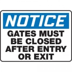 """Accuform MABR808XL, OSHA Notice Safety Sign """"Gates Must Be Closed…"""""""