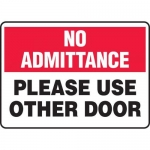 """Accuform MABR815XT10, Safety Sign """"Please Use Other Door"""""""