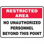 """Accuform MADC503XV, Restricted Area Safety Sign """"No Unauthorized…"""""""