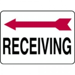 "Accuform MADC507XV, Safety Sign ""Receiving"" Left Arrow Dura-Vinyl"