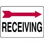 "Accuform MADC508XV10, Safety Sign ""Receiving"" Right Arrow Dura-Vinyl"