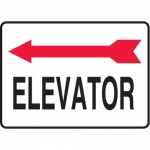 "Accuform MADC509XV, Safety Sign ""Elevator"" Left Arrow Dura-Vinyl"